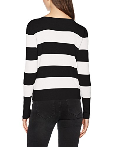 ONLY Damen Pullover Onlbologne L/S Pullover Knt Noos Mehrfarbig (Black Detail:W. Cloud Dancer)