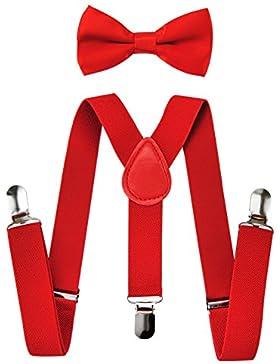 Axy alta calidad Niños de tirantes y forma con pajarita de 3clips extra fuerte de colores uni