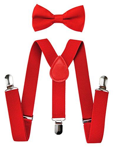 axy Hochwertige Kinder Hosenträger-Y Form mit Fliege- 3 Clips EXTRA STARK-Uni Farben (Rot)