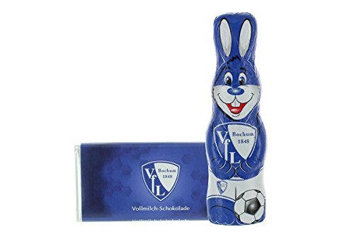 Kleines Ostern-Schoko-Fanpaket - Bundle mit einem Osterhasen und einer Schoko-Tafel aus Fairtrade-Kakao (250 g) (VfL Bochum 1848) (Oster Schokolade)