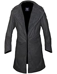 F&H Men's Stonewashed Genuine Leather Blade Runner 2049 Faux Fur Lined Open Front Coat