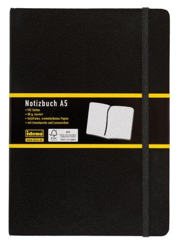 Idena 209281 - Notizbuch DIN A5, 192 Seiten, 80 g/m², kariert, schwarz