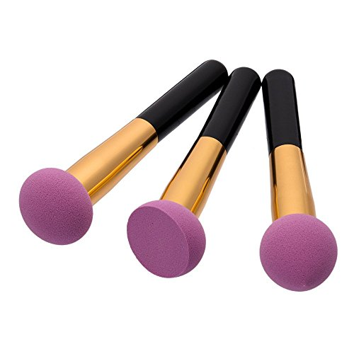 Maquillage Brosse, 3 Pcs/Set Poudre Puff Maquillage Brosse Fondation Mélange Poudre Ombre à Paupières Contour Concealer Beauté Joue Outil Cosmétique (Color : Purple)