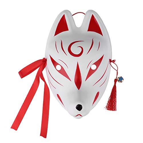 iiniim Fuchs Maske Japanische Fuchs Halbmaske Cosplay Fasching Karneval Kostüm Fox Maskerade Party Clubwear Rot C Einheitsgröße