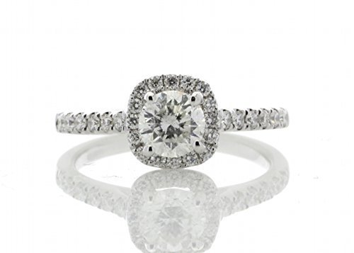 Precious Jewels UK - Diamant Halo Ring 0,94 ct 18 karat weiß Gold Zertifikat von AGI - Silbern (S2-diamant-ring)