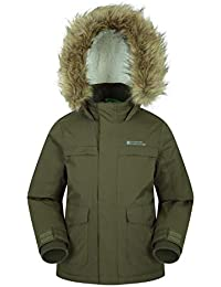 2f58c5aed Mountain Warehouse Samuel Kids Parka Jacket - Water Resistant, Fur Hoodie,  Fleece Lined,