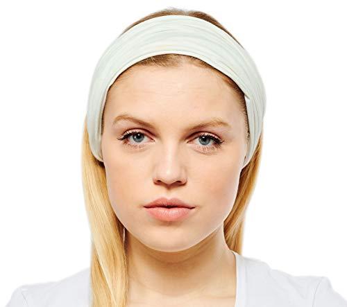 8019a4d4176abb Antonia York Stirnband für Damen Haarband Kopfband Bandana Headwrap  (Bianca, Cotton jersey)