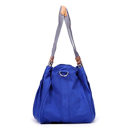 Eshow Borse Multifunzione a tracolla donne tela tessuto casual viaggio borse a tracolla molto portabile al Confronto blu