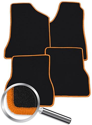 Fussmatten-Deluxe 150_21332 Passgenaue Fussmatten NF schwarz und Rand in Orange - nur passend für das in der Beschreibung angegebene Fahrzeug! -