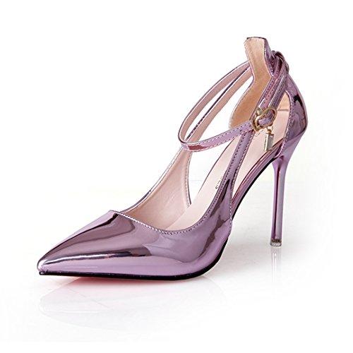 Damen Pumps Spitz Zehen High-Heels Hohl Atmungsaktiv Knöchelriemchen Atmungsaktiv Strapazierfähig Hochzeit Abend Party Schick Stiletto Pink