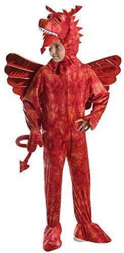 Jungen Mädchen Roter Drache Mittelalterlich Büchertag Halloween Walisisch Wales St Davids Tag Kostüm Kleid Outfit - Rot, 6-8 Jahre (Kostüm Rot Kleid Sechs)