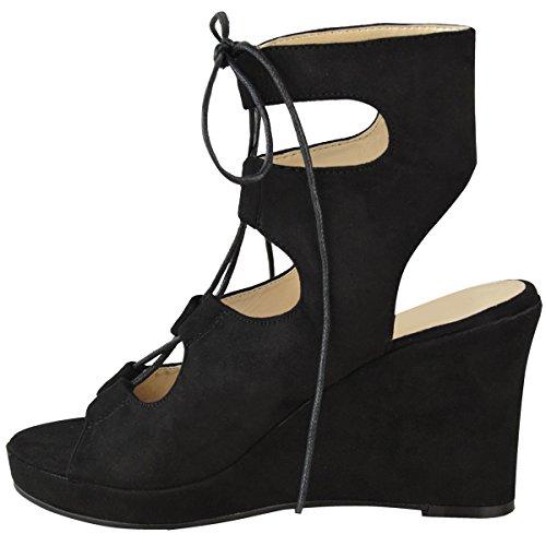 Nuovo Da Donna Sandali Estivi Zeppe Medio Tacchi Alti Scarpe Con Cinturino Size 3-8 Nera Pelle Scamosciata