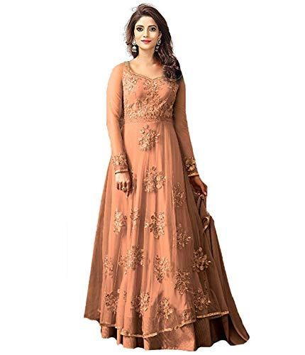Shyam Export Women's Net Embroidered Bridal Party Wear Anarkali Salwar Suit Dress Material (Dresses-25004_Yellow-Colour_Free Size)