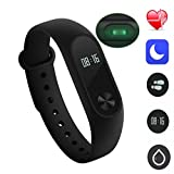 Smart Bracelet,M2 Plus Fitness TrackerBluetooth Sport Smart Wristband Pedometer Heart Rate Monitor Watch Anti-lost Reminder(Black) for all smart phone