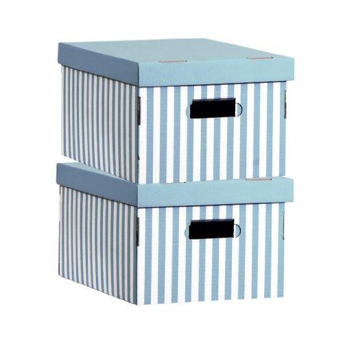 Compactor set di 2 scatole in cartone ondulato, con maniglie, impilabili, turchese, 40 x 31 x h.21 cm, ran3311