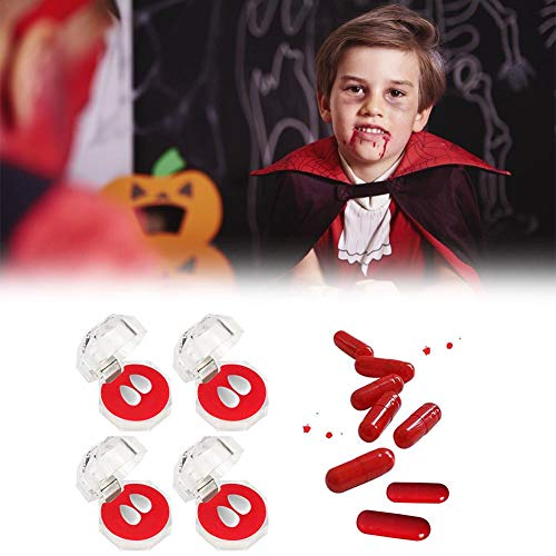 Kostüm Kit Gebiss Vampir - Ganmaov Vampir Gebiss Set Vampir Zähne Zähne Gebisse Blut Kapsel Vampir Zähne Kit Cosplay Requisiten Halloween Kostüm Requisiten Halloween Party Cosplay Horror Dekoration Right
