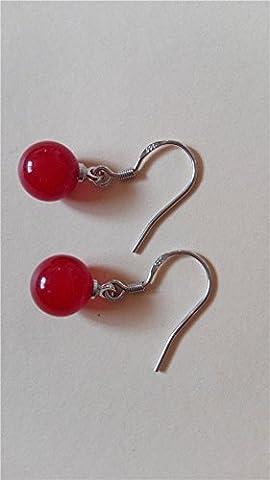 XZQ-Neue Mode natürliche Achat Ohrhänger Ohrringe Charme Schmuck, Rot 40