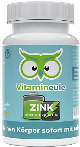 Zink Kapseln - ohne künstliche Zusatzstoffe - 100% Zufriedenheitsgarantie - vegane, kleine Kapseln - Qualität aus Deutschland - effektiv gegen Mangelerscheinungen - Zinkgluconat- Vitamineule®