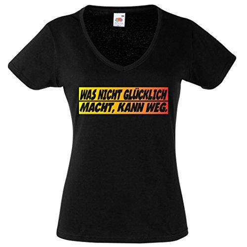 WAS NICHT GLÜCKLICH MACHT, KANN WEG. V-Neck Damen Shirt T-Shirt Schwarz-Gold