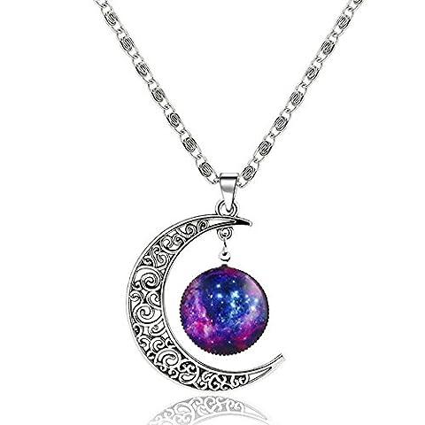 MESE London Lune Et Etoile Galaxy Collier Pendentif En Argent - Coffret Cadeau Elégent