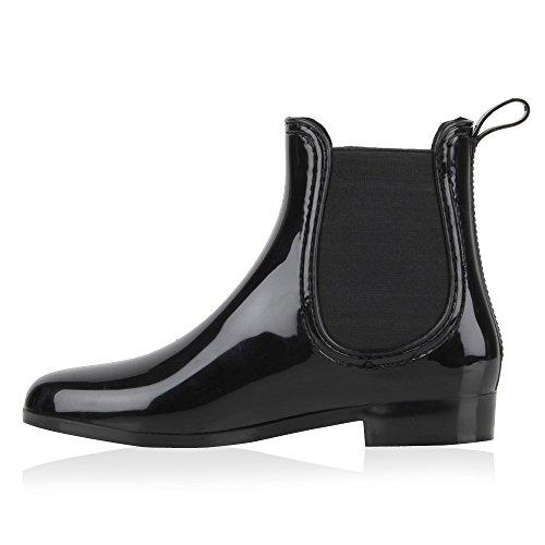 Damen Stiefeletten | Chelsea Boots Lack | Damenschuhe Muster Animal Print | Blockabsatz Schuhe Schwarz