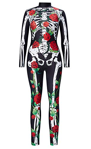 RAISEVERN 3D Printed Pattern Neuheit Scary Vampire Zombie Skeleton Bodysuit Kostüm Naughty Stretch High Neck Trikot Halloween Bekleidung Kleidung (Scary Kostüm Zu Machen)