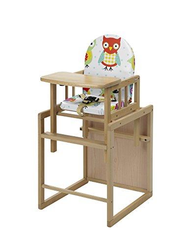 Geuther - Kombi-Hochstuhl Nico, 2in1, Stuhl-/Tisch-Kombination oder Hochstuhl, TÜV geprüft, hoher Rücken, mit Sicherheitsgurt, natur, Eule bunt