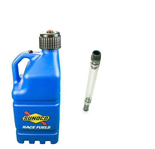 sunoco-race-fuels-5-gallon-racing-utility-jug-with-deluxe-filler-hose-kit-blue-made-in-the-usa-by-su