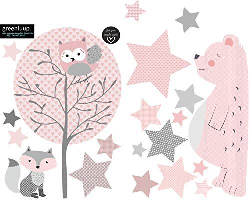 greenluup ökologische XL Wandsticker Wandaufkleber Tiere in Rosa Grau Waldtiere Bär Baum Fuchs Sterne aus ökologischen Materialien Kinderzimmer Babyzimmer Deko Wanddekoration (w6)