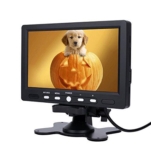 PUMPKIN 7 Zoll TFT LCD Digital Auto View Monitor als Auto Rückfahrkamera 2 Video-Eingang, Hochauflösende Bilder & Vollfarb-LCD-Display für Auto-DVD, VCD und anderen Videogeräten (BAB0002-BKE01)