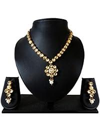 J For Jewels Golden Kundan Pendant Set With Back Meena Work For Women & Girls