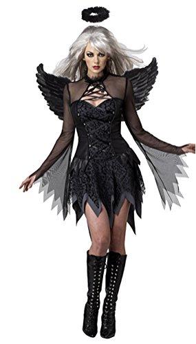 SMITHROAD Halloween Kostüm Damen Engel Kleid Kurz mit Flügel und Heiligenschein Karneval Schwarz02 Gr.34-36 (Dark Angel Kinder Kostüme)