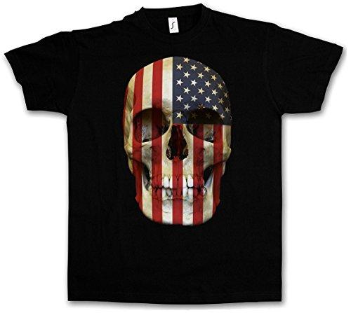 USA STARS & STRIPES SKULL FLAG T-SHIRT - United States Banner America US T-Shirt
