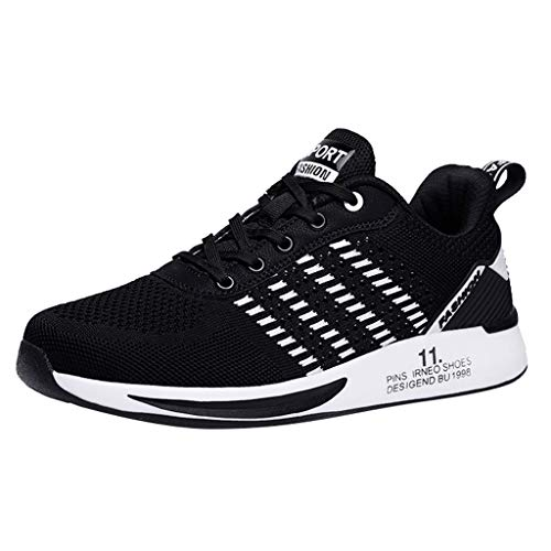 Deloito Damen Sneaker Leichte Modische Turnschuhe Fliegendes Weben Socken Sport Schuhe Schüler Freizeit Atmungsaktiv Laufschuhe (39 EU, Schwarz-07)