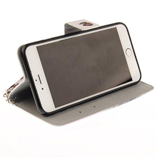 iPhone 6 Plus Hülle, iPhone 6S Plus Hülle, iPhone 6 Plus/ 6S Plus Lederhülle, iPhone 6 Plus / iPhone 6S Plus Brieftasche, BONROY Tier Muster Niedlich Komisch Ledertasche Handyhülle Kunstleder Tasche W Affe