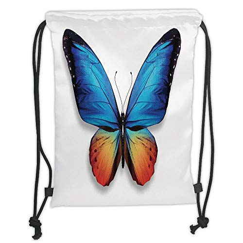 WTZYXS Drawstring Sack Backpacks Bags,Butterflies Decorations,Big Butterfly Manifests Never Ending Cycle of Life Self Transformation,Orange Blue Black Soft Satin,5 Liter Capacity.