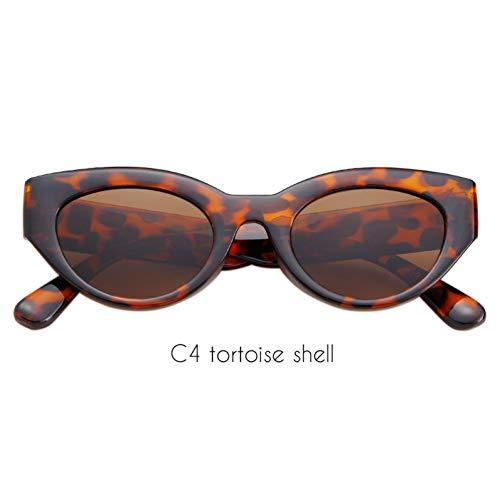 ZRTYJ Sonnenbrille Vollrand Cat Eye Sonnenbrille Damen Markendesigner Vintage Oval Lens Urban Chic 90S Sonnenbrille