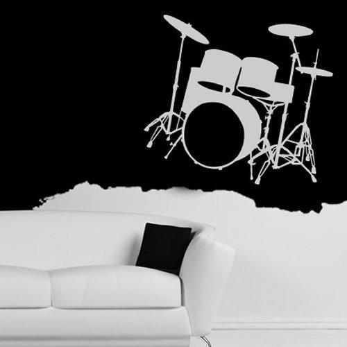 Drum-Silhouette-Wandsticker-Wandtattoo-Musik-Kunst-verfgbar-in-5-Gren-und-25-Farben-Extragro-Wei