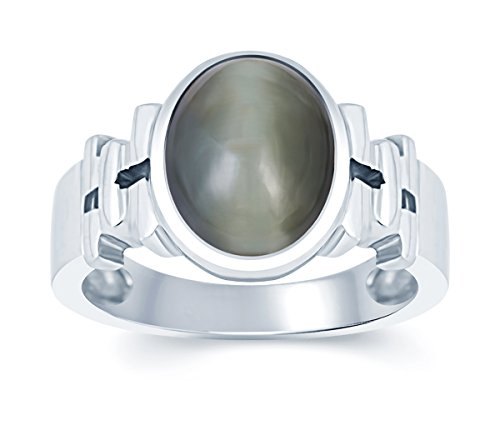G-Luck Certified Natural Cat's eye Lahsania 92.5 Sterling Silver Gemstone Ring For Men