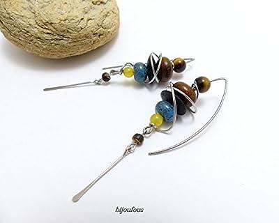 Boucles d'oreille ethniques multicolores grands crochets (A12)