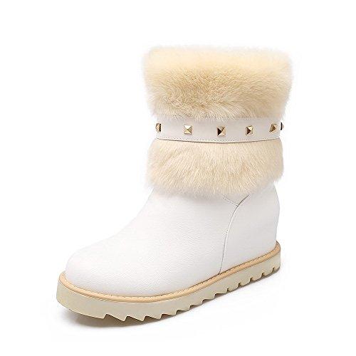 AllhqFashion Damen Mittler Absatz Eingelegt Rund Zehe Ziehen Auf Stiefel Weiß