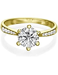 0.65 CT Diamond Engagement Ring Genuine Round Cut Main Stone H/SI1 (Clarity Enhanced) 18ct Yellow Gold Solitaire