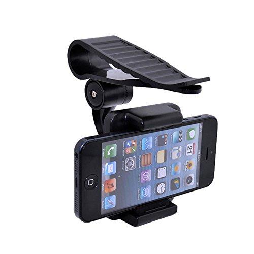 geekercity KFZ Halterung Handy Halter Universal 360Drehbar KFZ Sun Visor Mount Unterstützung Clip Halterung für GPS iPhone55S 5C 66S Plus SE Samsung Galaxy S7S6S5S4S3HTC [35-90mm]