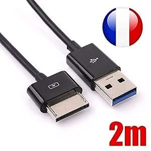 Câble USB pour Asus VivoTab RT TF600, TF600T, TF810, TF810C / Asus Transformer Pad TF701T - env. 2m de longueur - ARMORMICRO®