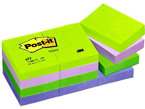 Post-it Notes - Cool Neon Rainbow Neon Green, Neon Purple, Retro Green, Periwinckle Blue - 12 Pads Per Pack - 100 Sheets Per Pad - 38 mm x 51 mm