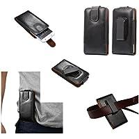 DFV mobile - Funda Premium de Cinturon con Clip Giratorio 360º Piel Autentica para => KINGZONE N5 > Negra