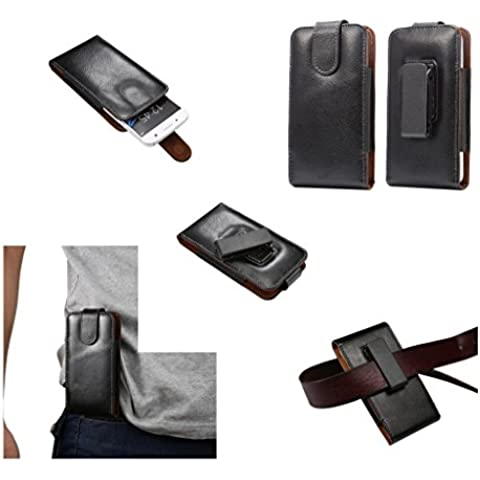 DFV mobile - Magnetic Genuine Leather Holster Executive Case belt Clip Rotary 360º for => VERYKOOL S352 JASPER II >