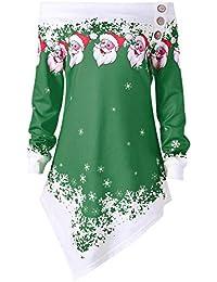 Marlene (R) Damen Weihnachten Tops-Weihnachtsmann Schneeflocke Drucken-Lange Ärmel Skew Neck-Casual Bluse Sweatshirt (-35%)