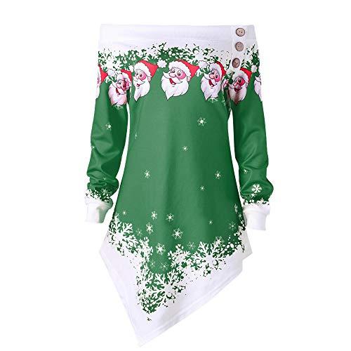 Miss Santa Kostüm Baby - SEWORLD Frohe Weihnachten Weihnachtsmann Kapuzenpulli Damen Langarm Warmer Santa Snowflake Gedruckt Tops Schulterfrei Asymmetrisches Sweatshirt(X1-Grün,EU-38/CN-L)