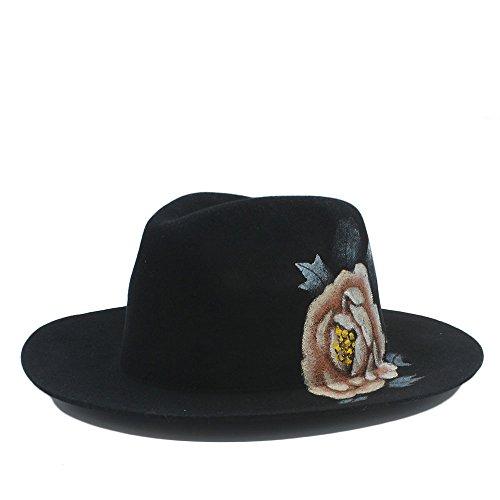 HÖHERE MÄNNER Fashion Classic Pure Wool Handgemalte Blumen Fedora Hut for Frauen Männer Panama Hüte (Farbe : 2, Größe : 57cm-59cm) -